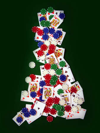 gambling counter: Playing Cards and Poker Chips in Shape of United Kingdom