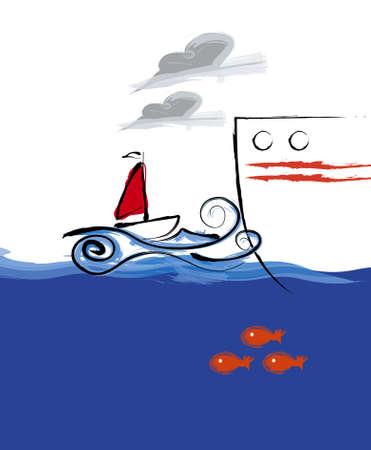 Kleine Segelboot illustration