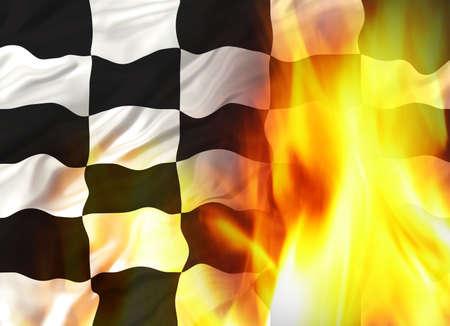 cuadros blanco y negro: Chequred Bandera  Foto de archivo