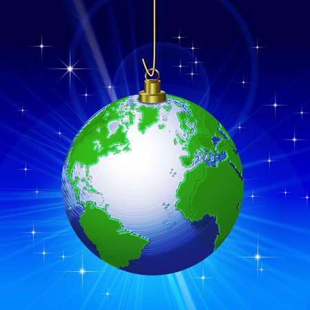 many christmas baubles: World Christmas Decoration Stock Photo