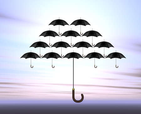 blown: Umbrellas Stock Photo