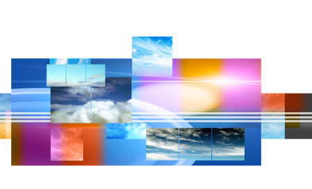skys: Abstract layout of sky images on white background