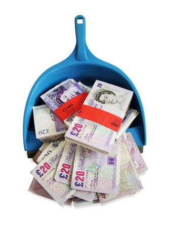 cleaning debt: Money in dustpan