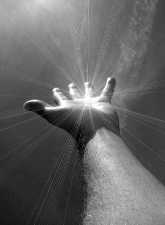 perdonar: El brazo se extiende  Foto de archivo