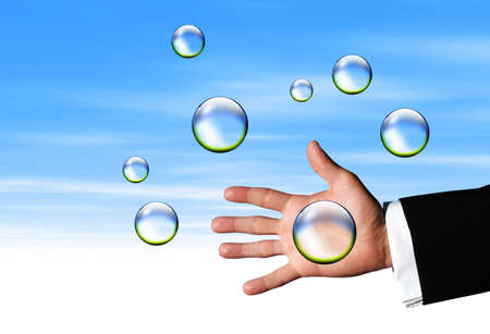Catching Clear bubbles Stock Photo - 3022833