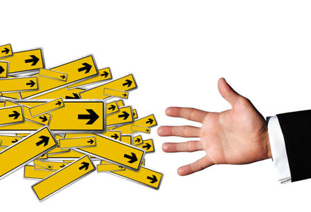 Hand and arrow signs photo