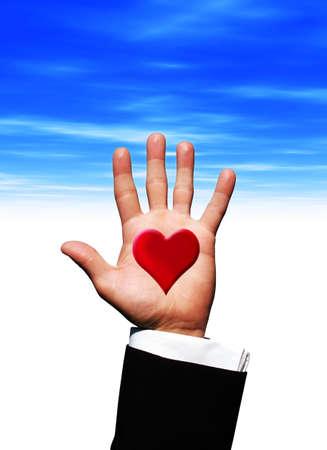 Love heart on hand photo