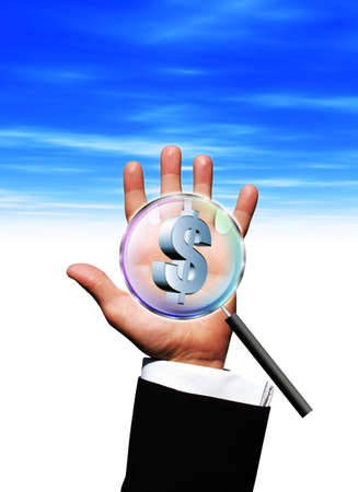 Magnifying US dollar in hand Stock Photo - 3053469