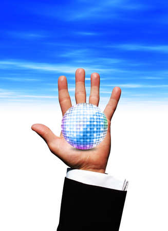 Disco ball in hand photo