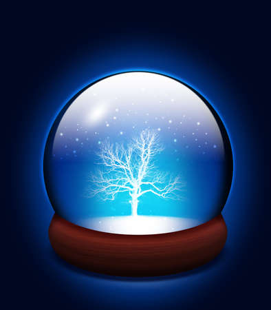 sphere base: Tree in glass snow dome Stock Photo