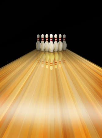 quille de bowling: Bowling voie Banque d'images