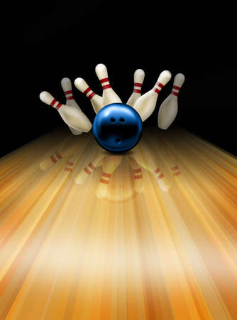 throwing ball: Bowling strike