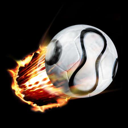 Fu�ball durch Feuer Lizenzfreie Bilder