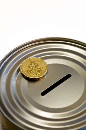 money box: Tin money box