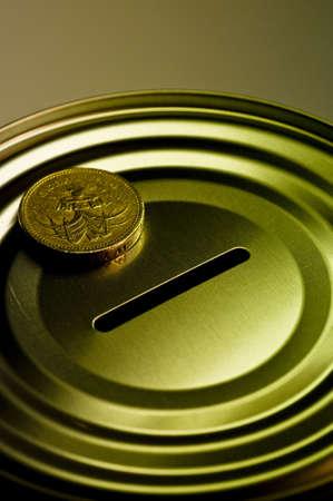 Tin money box photo