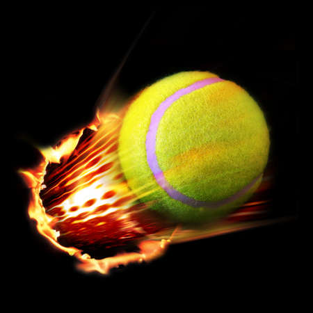 Tennis ball fire Stock Photo