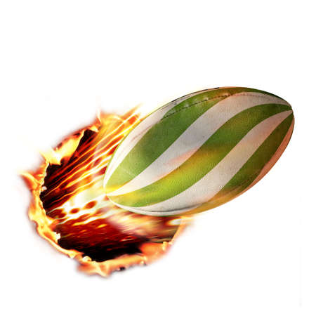 Rugby ball flames