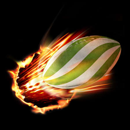 Rugby ball flames photo