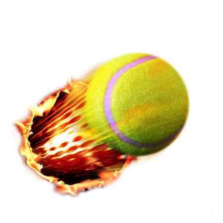 pelota de voley: Pelota de tenis fuego Foto de archivo