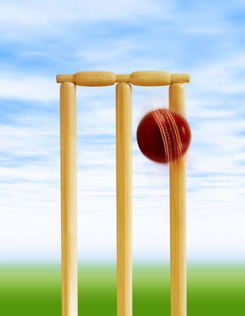 Cricket stumps and ball Stock Photo - 4438592