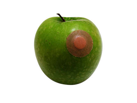 Apple with plaster photo