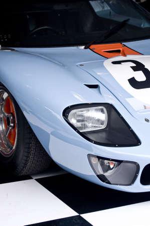 blue race car photo