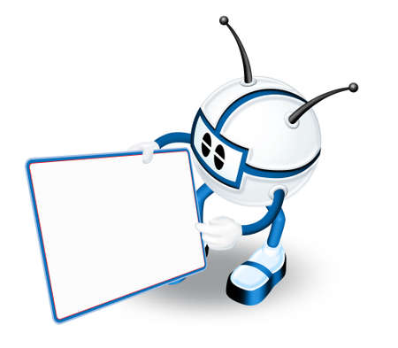 3d Character with blank panel