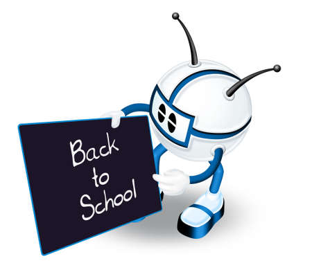 3d man with Back to school board Stock Photo - 6262969