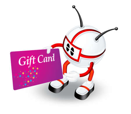 Red 3d character with gift card photo