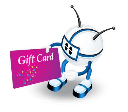 prepaid card: Blue 3d character with gift card Stock Photo