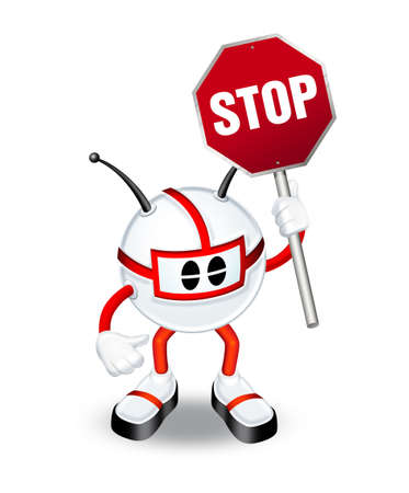 3d man with stop sign photo