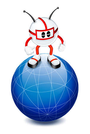 3d man on top of globe Stock Photo - 6285802