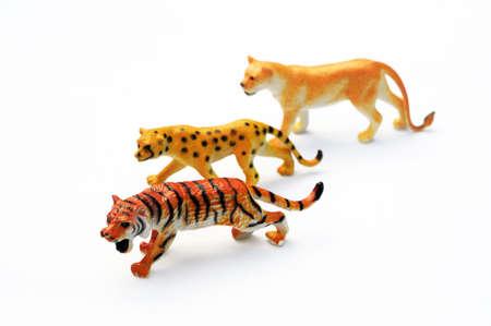 lion figurines: Plastic cats