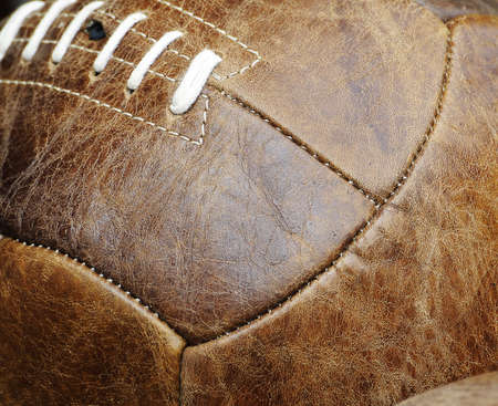 leather stitch: Leather football Stock Photo