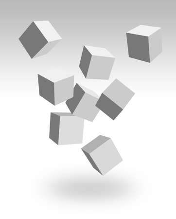 falling cubes: falling 3d boxes Stock Photo