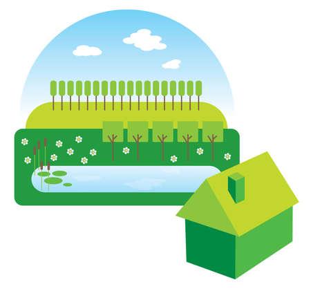 rural development: Green house illustration Stock Photo