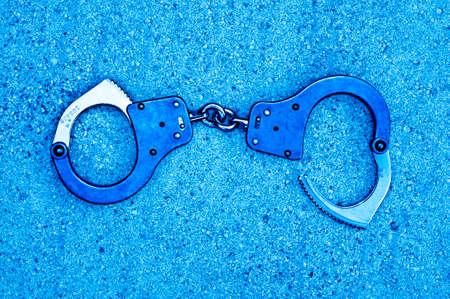 cuffed: handcuffs blue