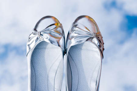 formal dressing: Pair of silver shoes