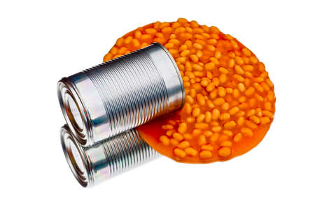 spilled: Spilled can of baked beans Stock Photo