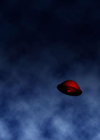 encounters: UFO in sky illustration