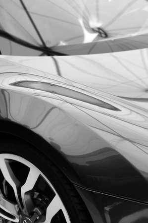shiny car: Shiny black car