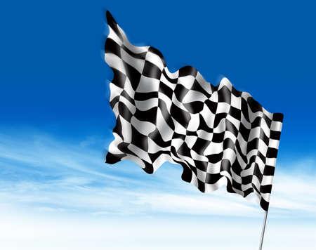formula one: winning flag illustration Stock Photo