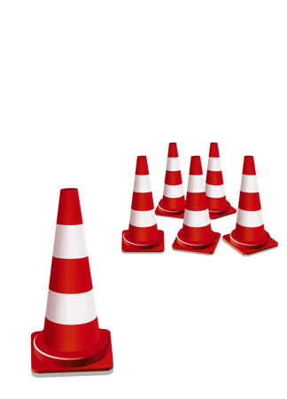traffic   cones: red traffic cones illustration Stock Photo