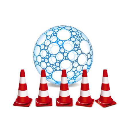 roadwork: Traffic cones and sphere illustration Stock Photo