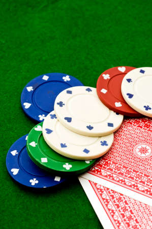 gambling counter: Casino chips and cards