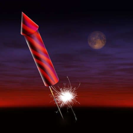 guy fawkes night: Rocket con miccia accesa Archivio Fotografico