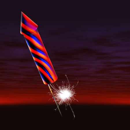 guy fawkes night: firework rocket with fuse lit