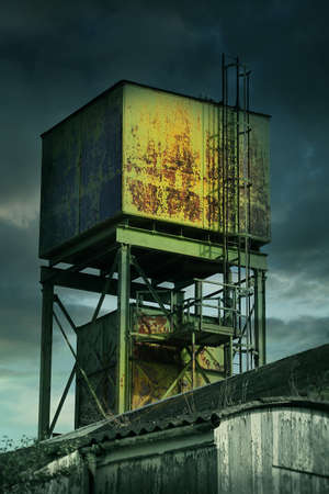 abandoned factory: derelict factory tower