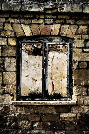 pealing: derelict window frame