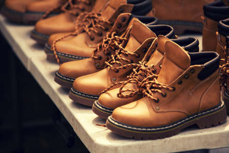 shoestrings: brown boots Stock Photo
